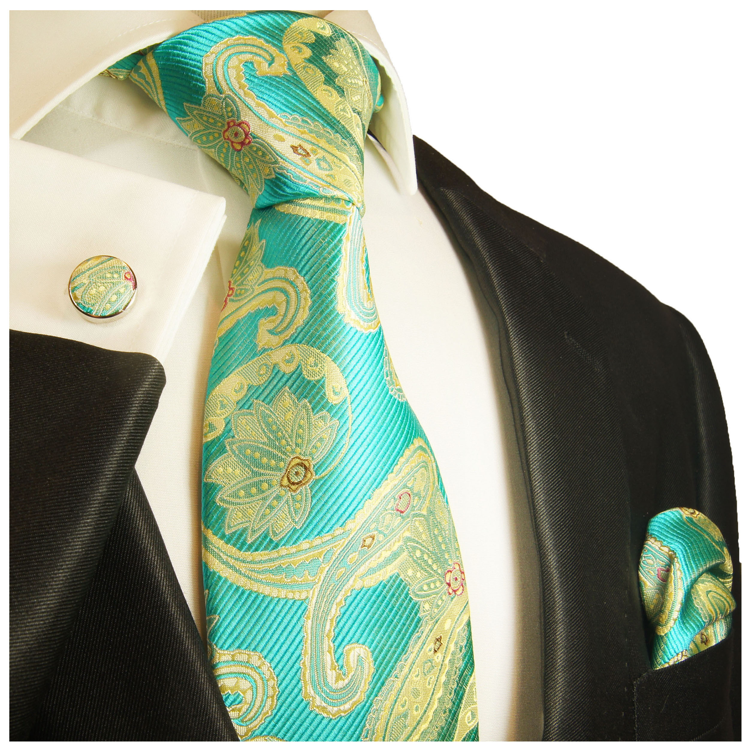 71b761f0f11 Turquoise tie and pocket square and cufflinks yellow paisley brocade 2024