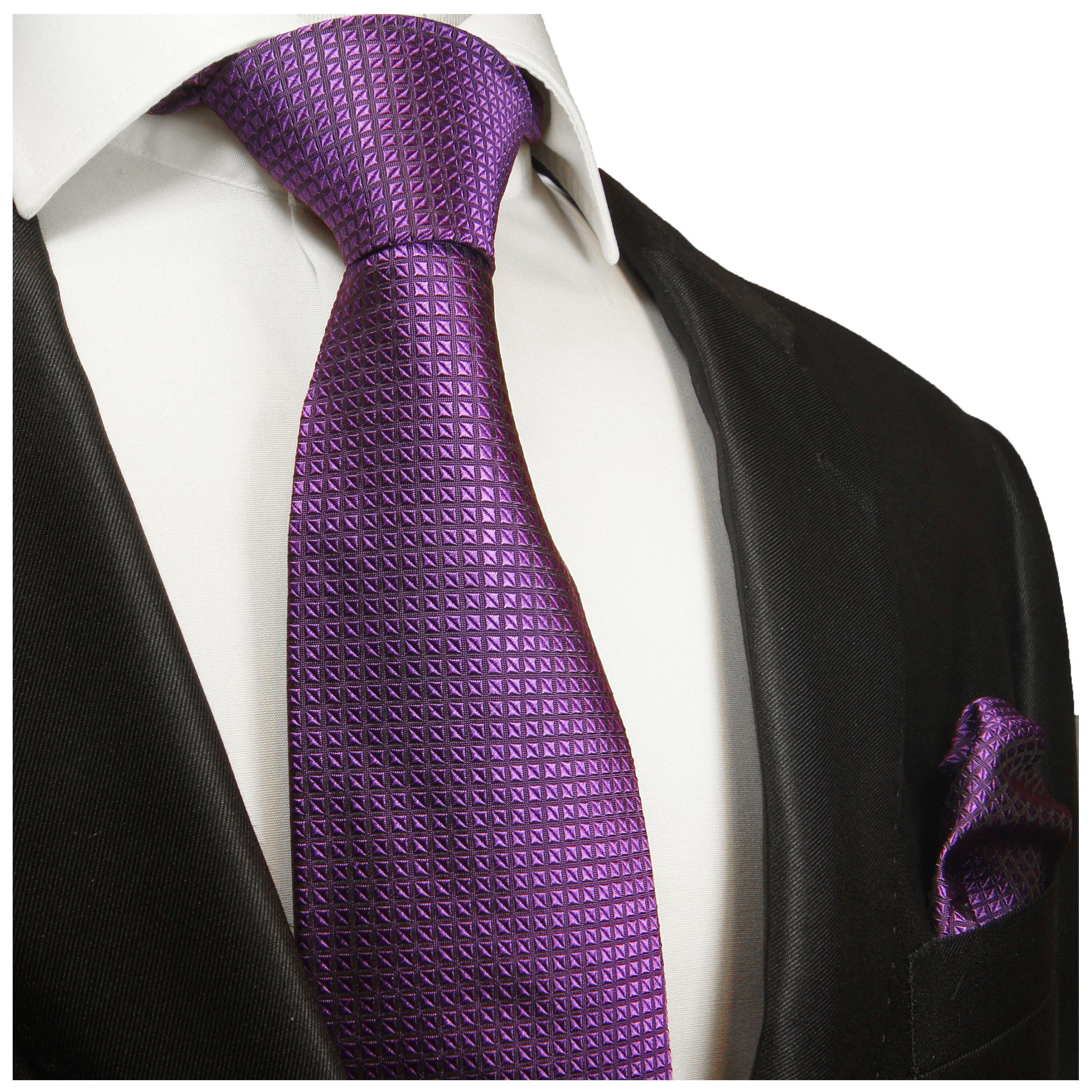 lila violette karierte Seidenkrawatte 2022 Paul Malone Krawatte Schlips