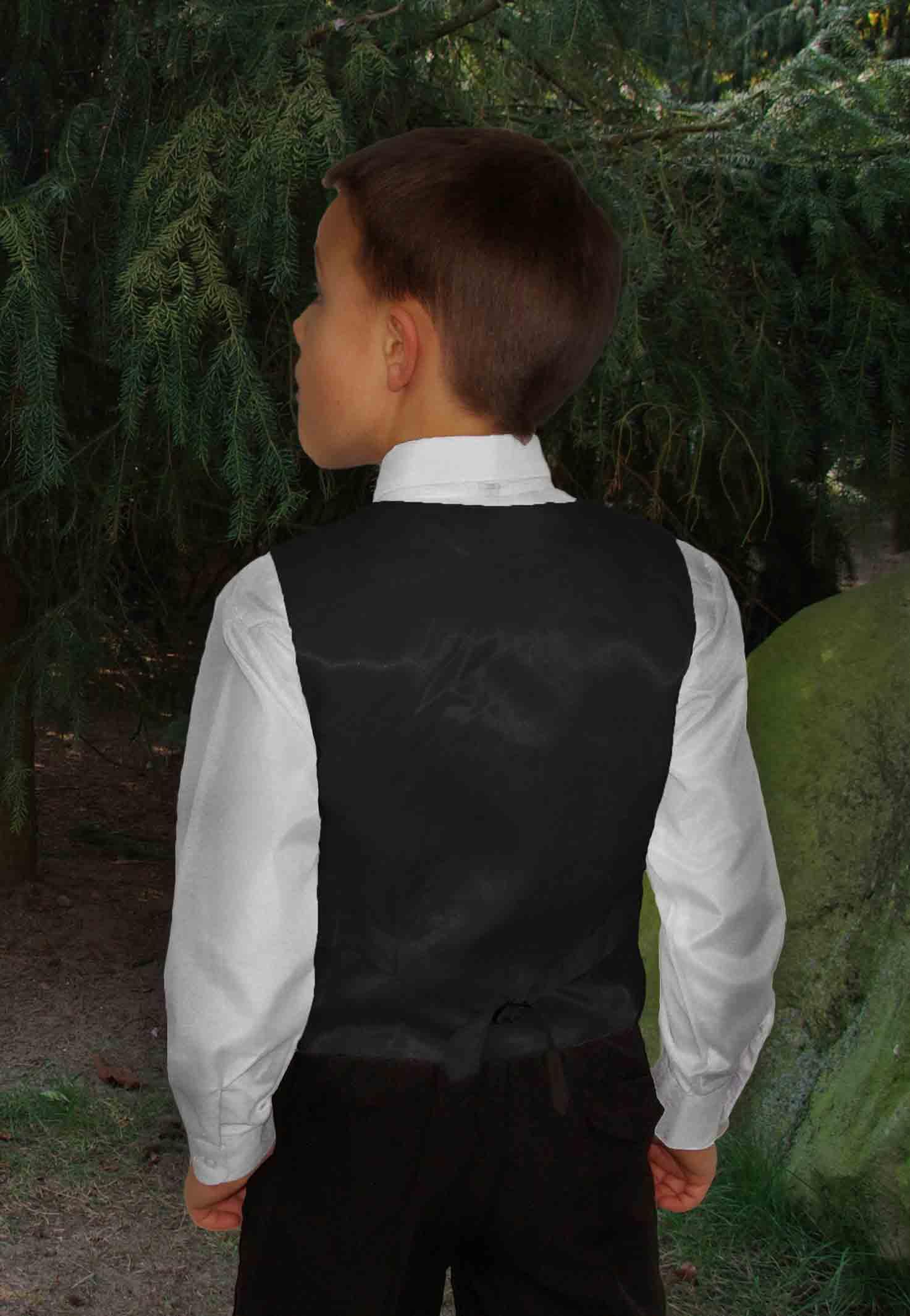 Kinderhemd Festliche Kindermode Kinder Weste für Jungen 3tlg rot Paisley Krawatte I Hochzeit KV99-Krawatte