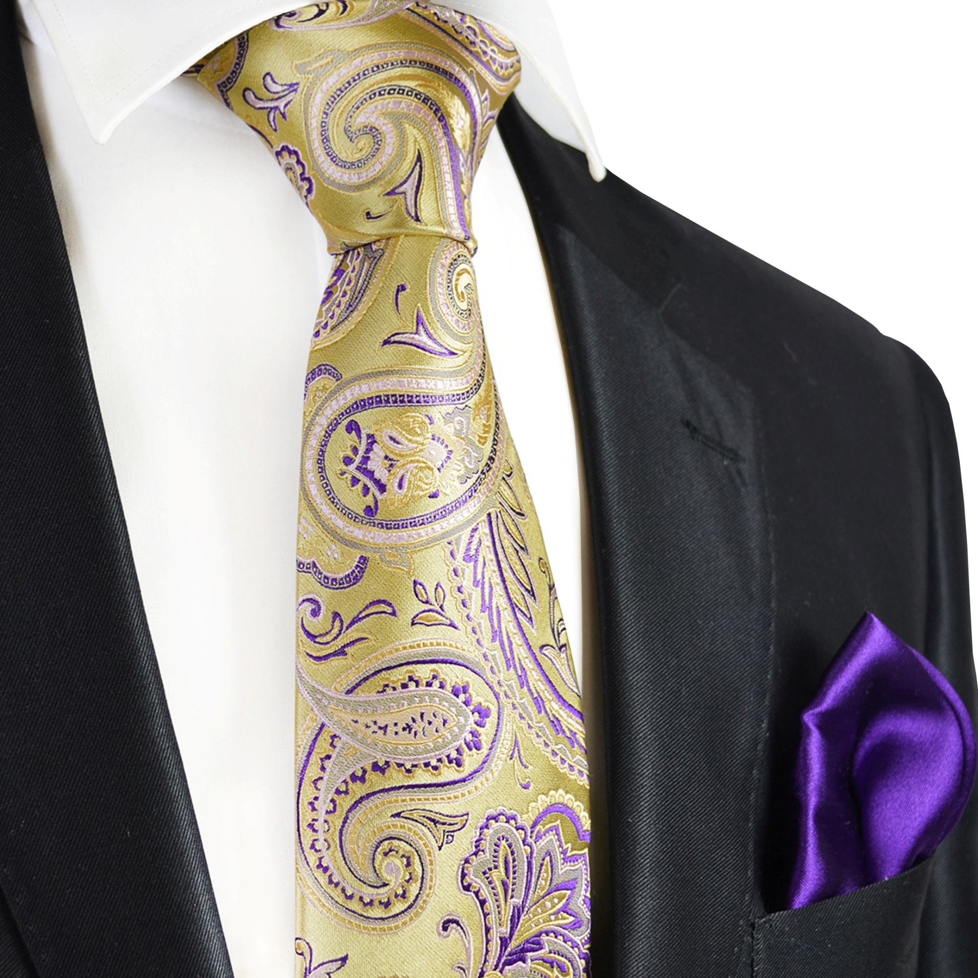 f6d9a25b79a35 Gold yellow purple paisley Paul Malone 7-fold Tie and Pocket Square set -  Paul Malone Shop