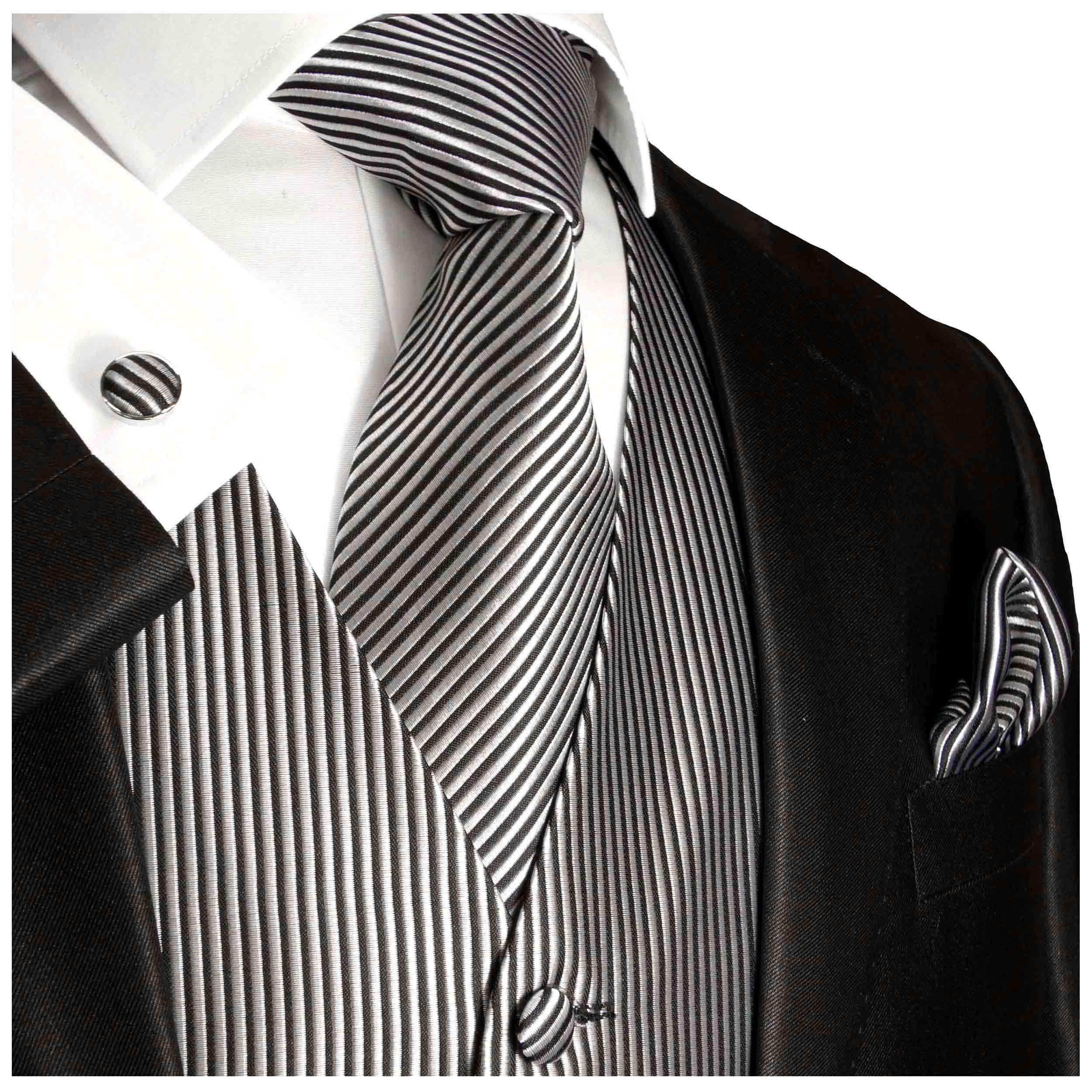 Mens Formal Tuxedo Vest Tie /& Pocket Square Set in Silver