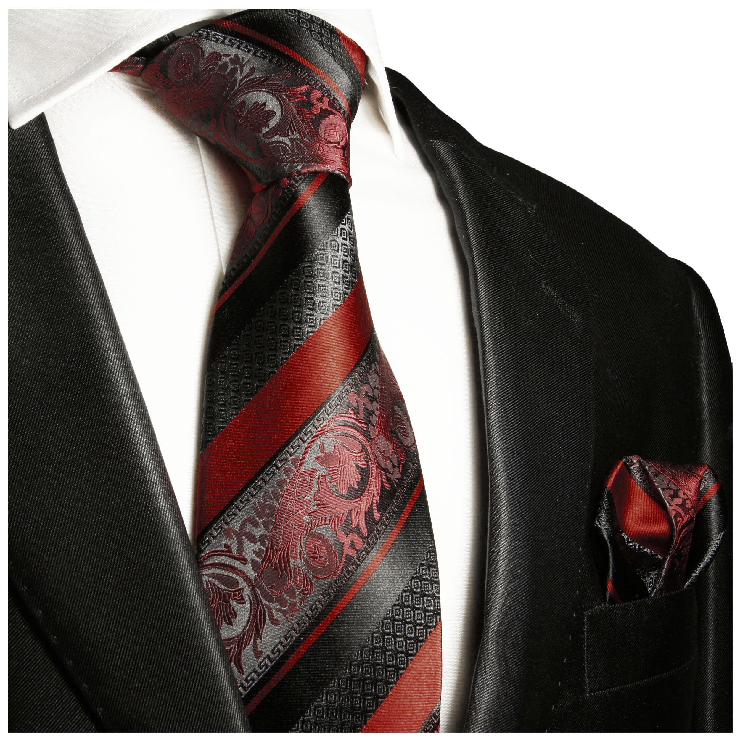 cc759c754934 Silk Necktie Set 2pcs. Tie + Handkerchief dark red black striped 2032 -  Paul Malone Shop