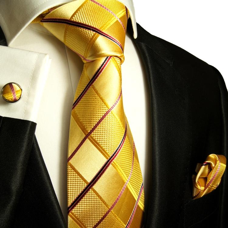 Gelbe Krawatte mit Einstecktuch und Manschettenkn/öpfe 100/% Seide Paul Malone Krawatte gelb uni Set 3tlg