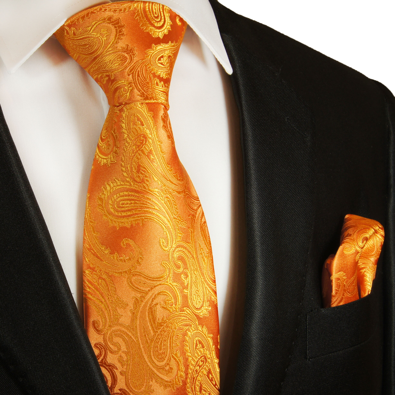 Tie Neck tie with Handkerchief Black with Bronze Paisley