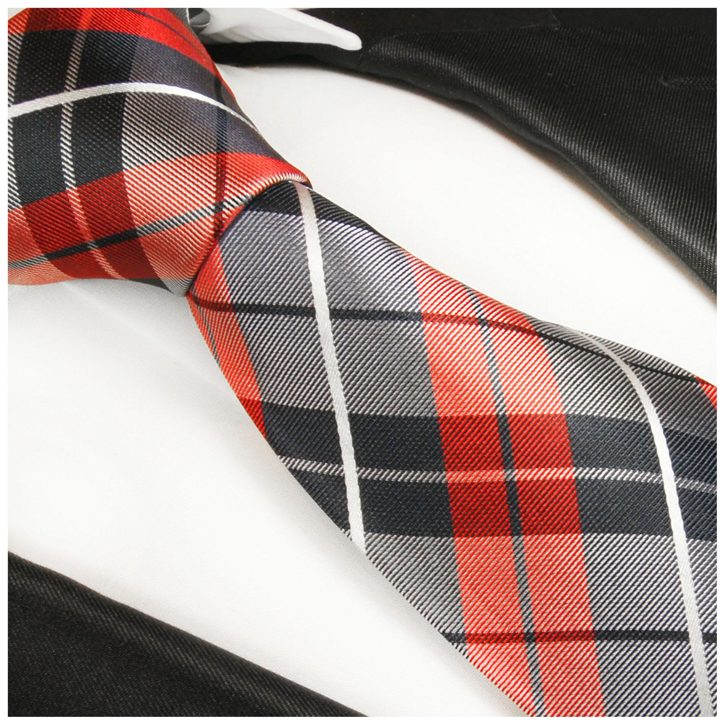 Paul Malone Krawatte kariert rot blau gestreift rote Seidenkrawatte 592