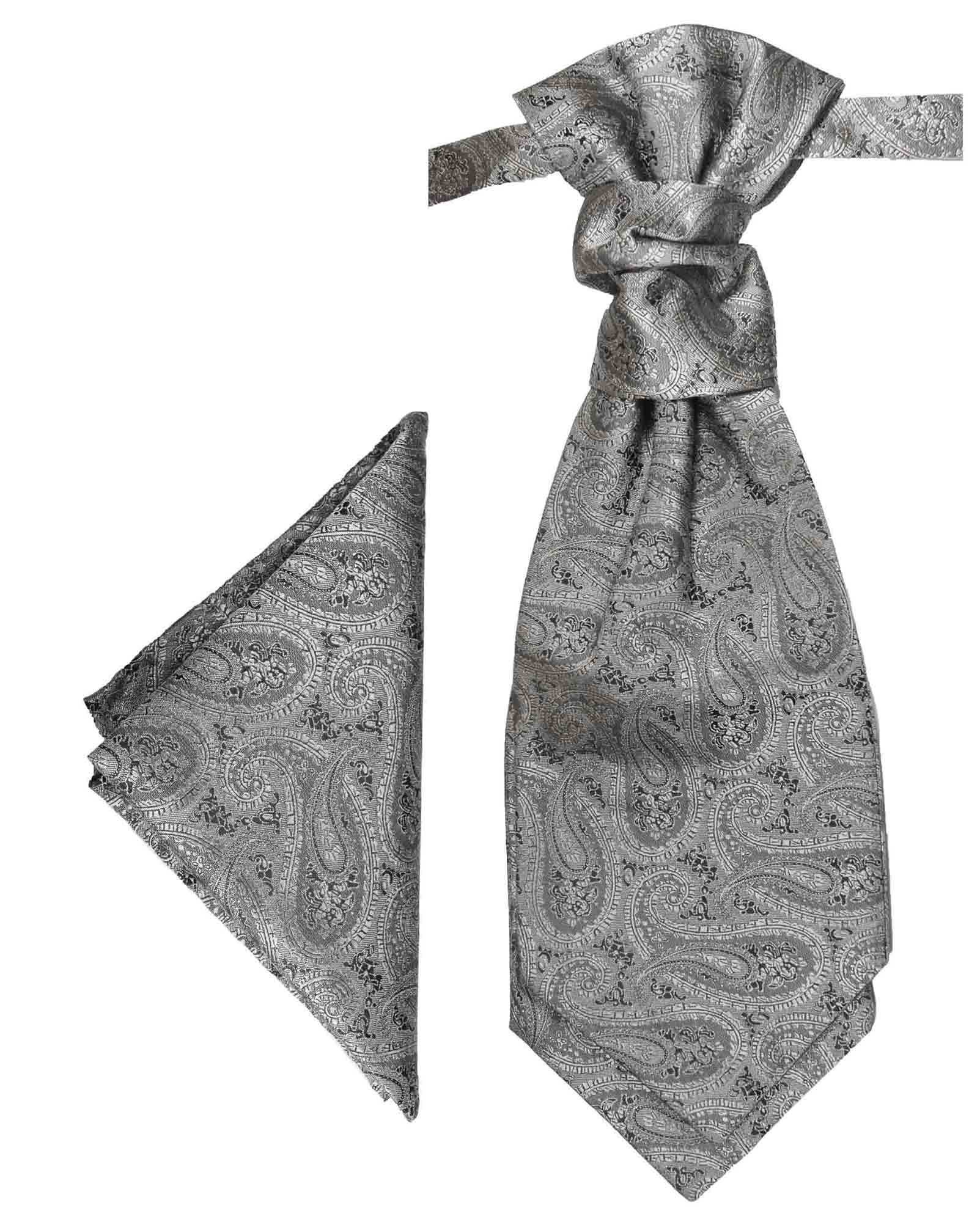 Cravat Ascot Black /& Silver Grey with matching hanky.