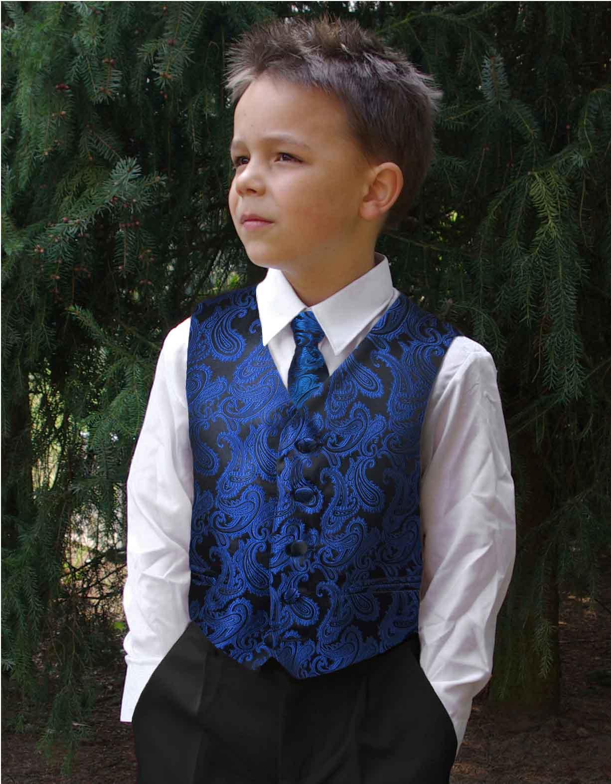 Kinder Weste für Jungen festlich blau   Krawatte - Paul