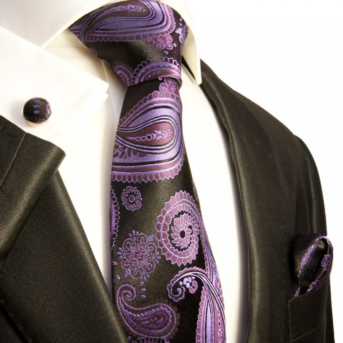 purple paisley necktie set 3pcs