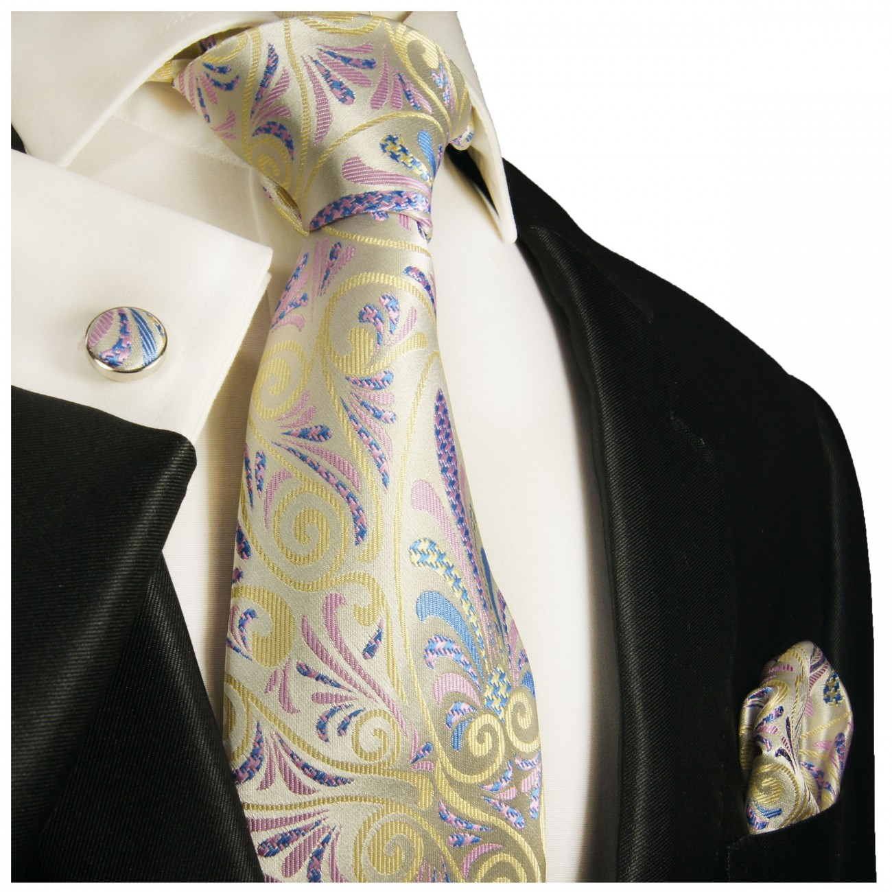 Yellow pink tie floral necktie - silk mens tie and pocket square and cufflinks