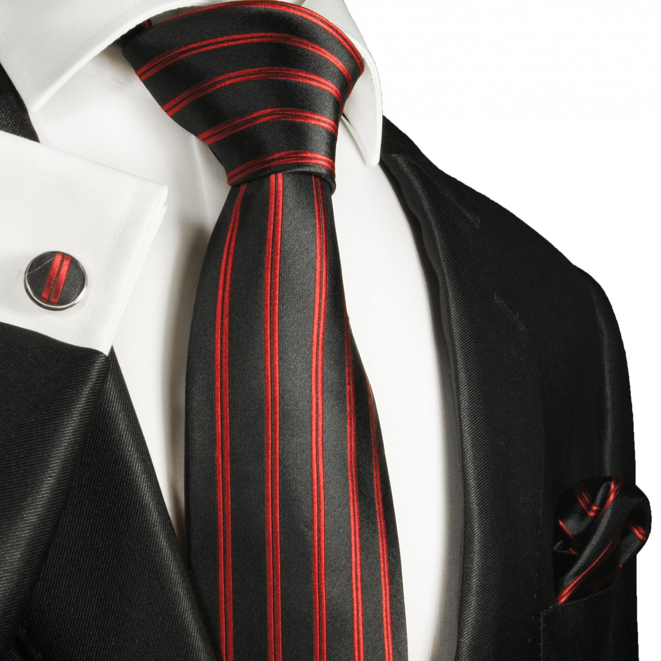 red mens tie striped necktie - silk tie and pocket square and cufflinks