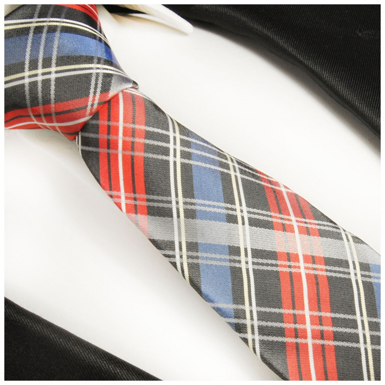 Blue red tie plaid necktie - silk mens tie and pocket square and cufflinks