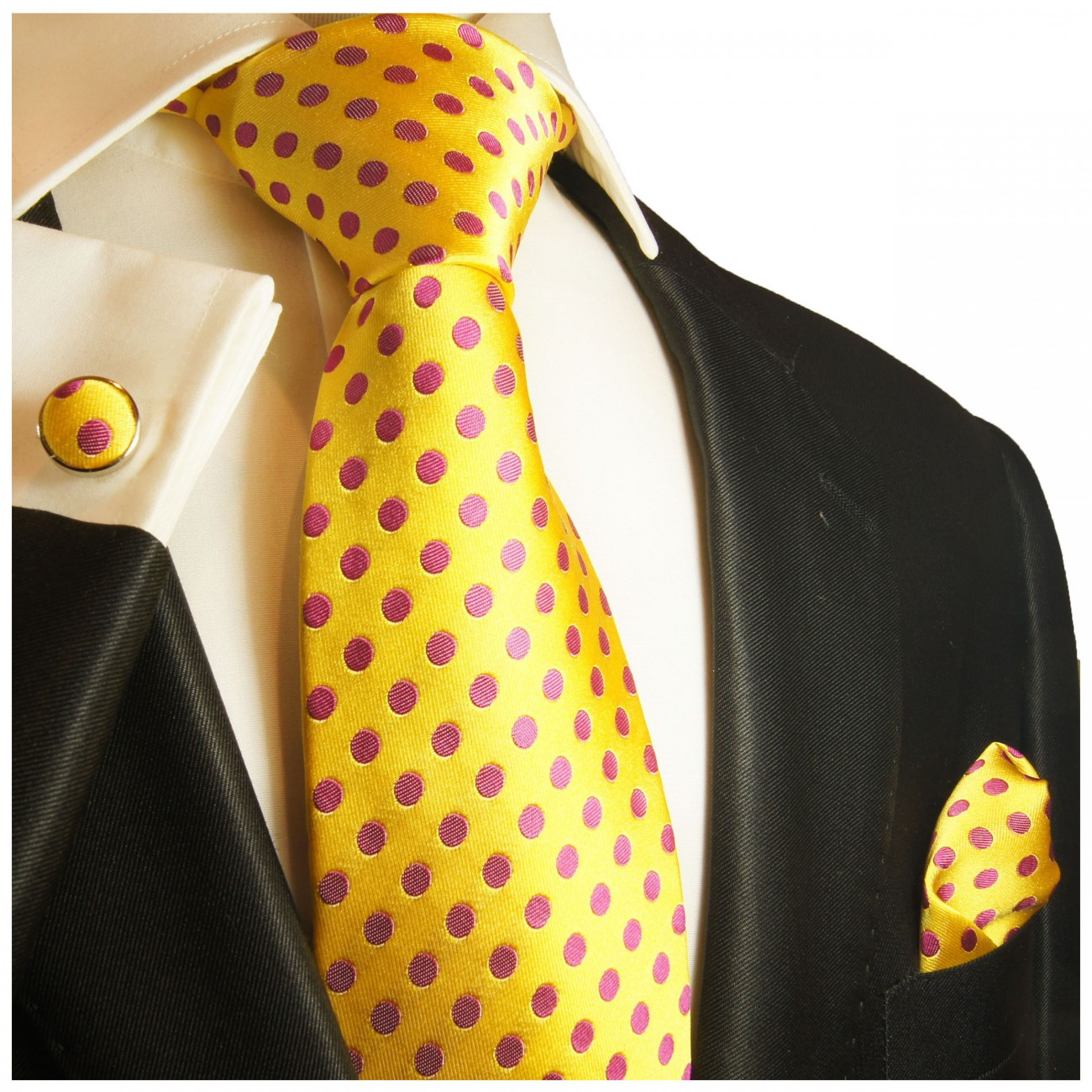 Yellow pink tie polka dots necktie - silk mens tie and pocket square and cufflinks