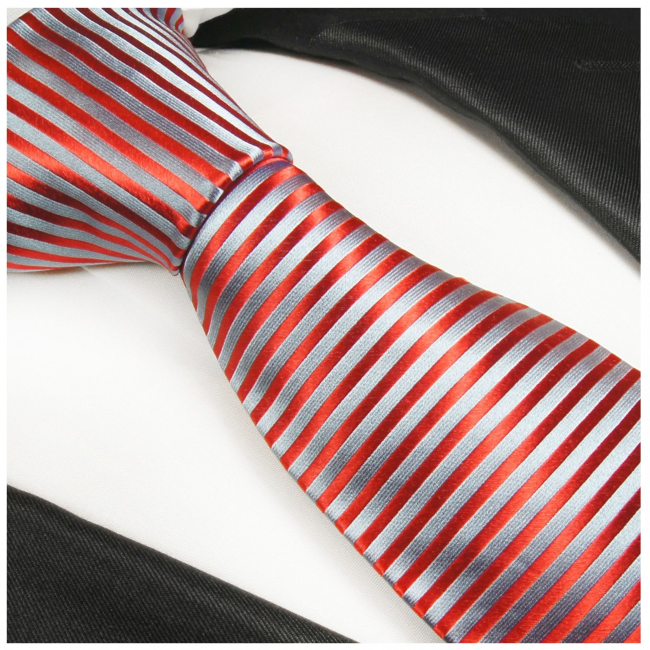 Blue red striped necktie - silk mens tie and pocket square and cufflinks