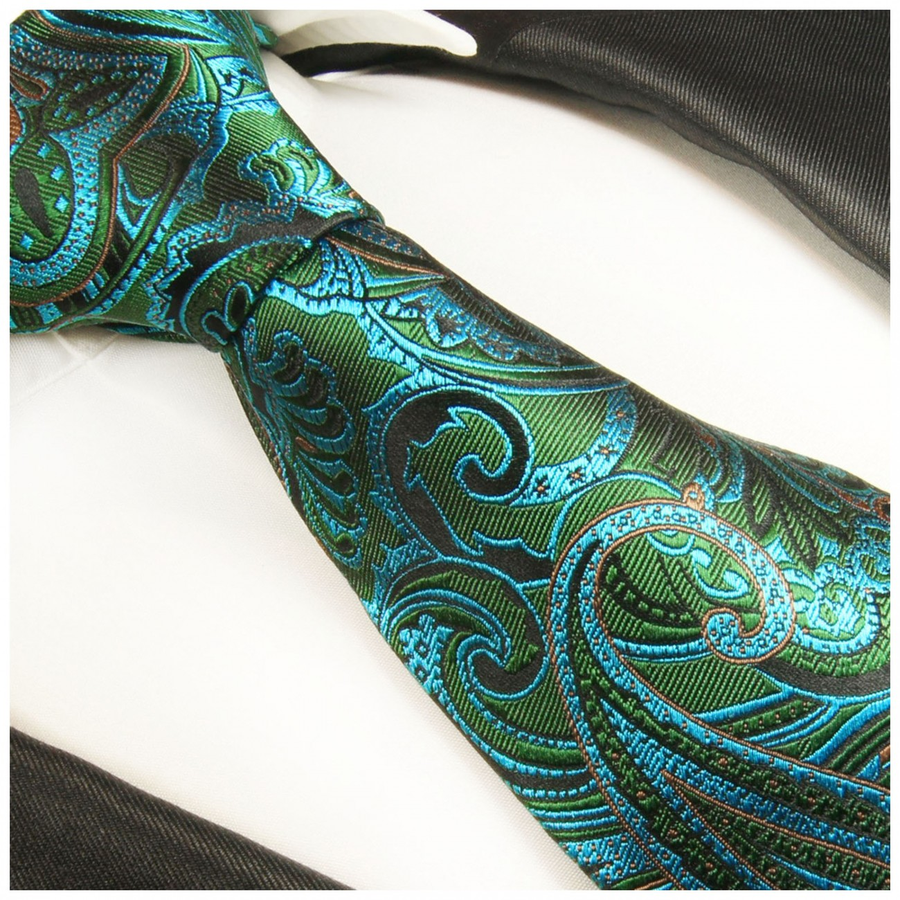 Green tie paisley necktie - silk mens tie and pocket square and cufflinks