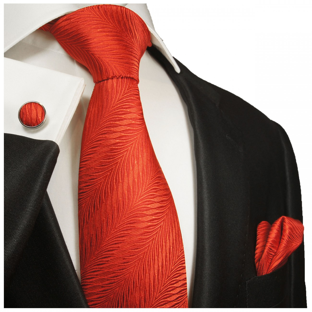 Red tie solid necktie - silk mens tie and pocket square and cufflinks