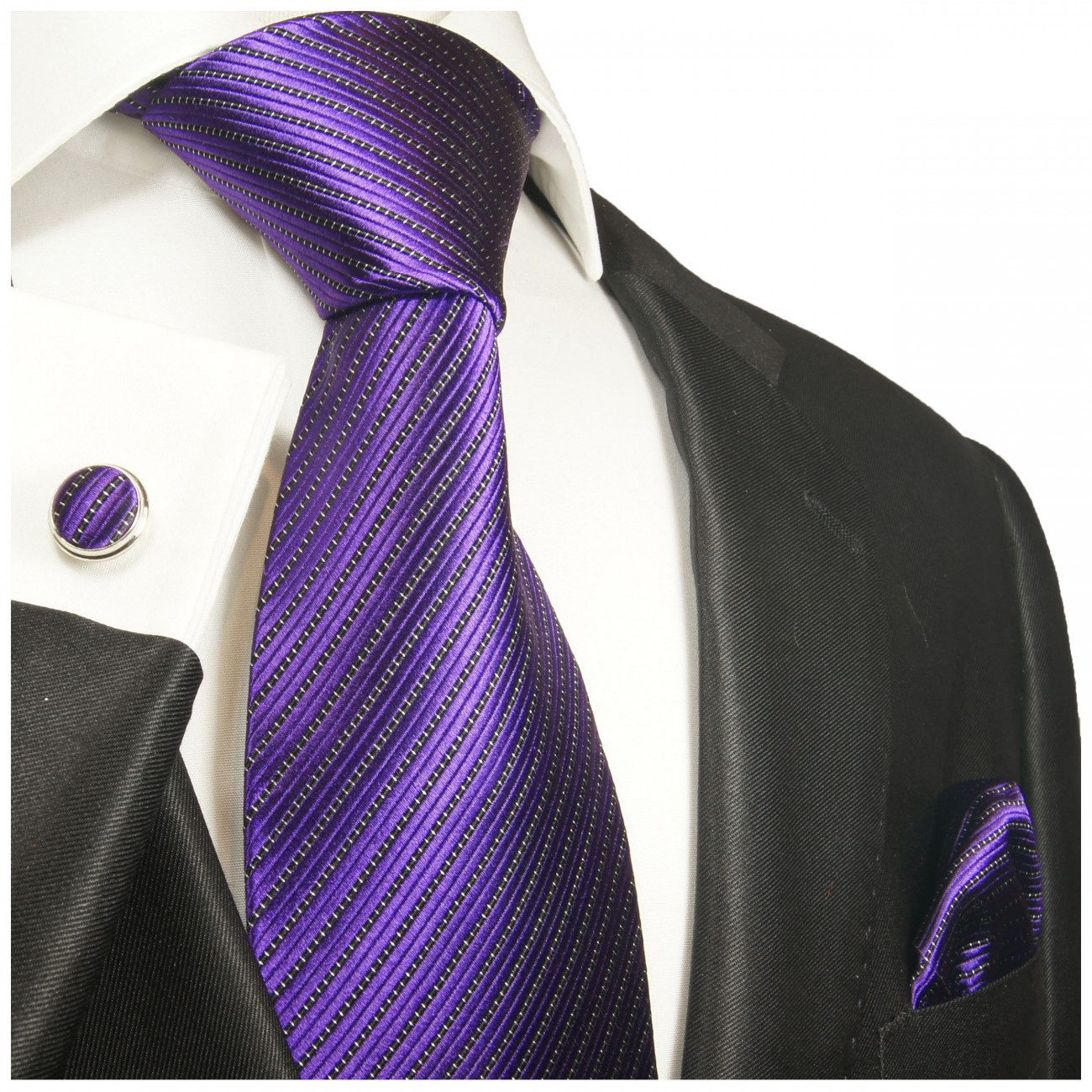 Purple tie solid necktie - silk mens tie and pocket square and cufflinks
