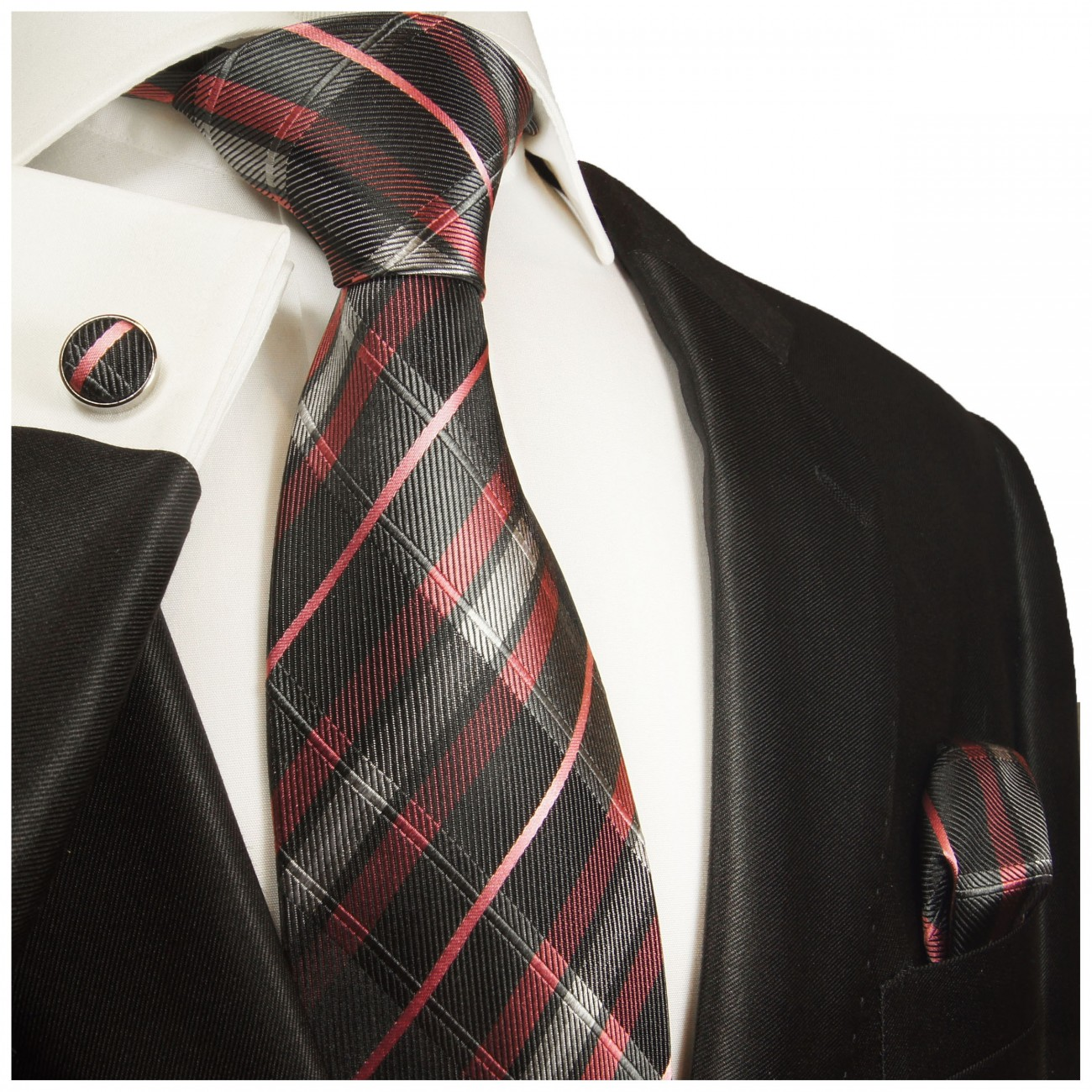 Black pink tie plaid necktie - silk mens tie and pocket square and cufflinks