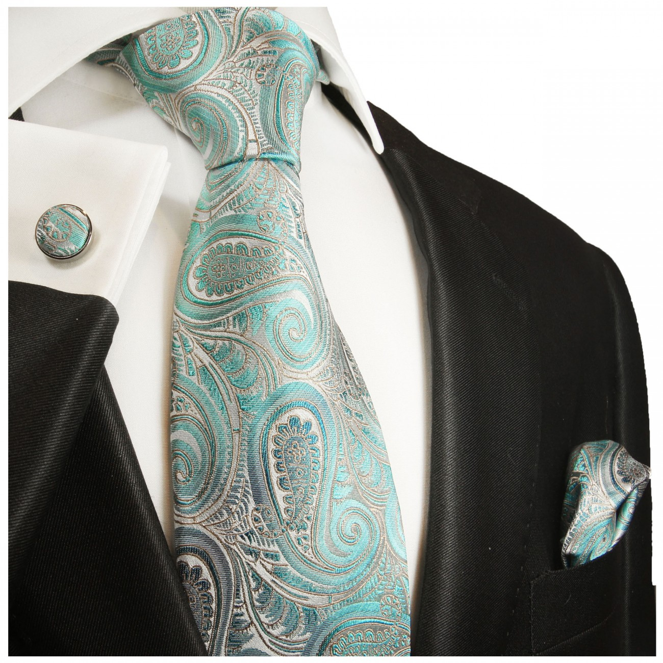 Turquoise tie paisley necktie - silk mens tie and pocket square and cufflinks