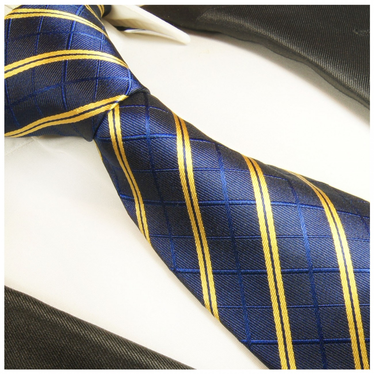 Blue striped necktie - silk mens tie and pocket square and cufflinks