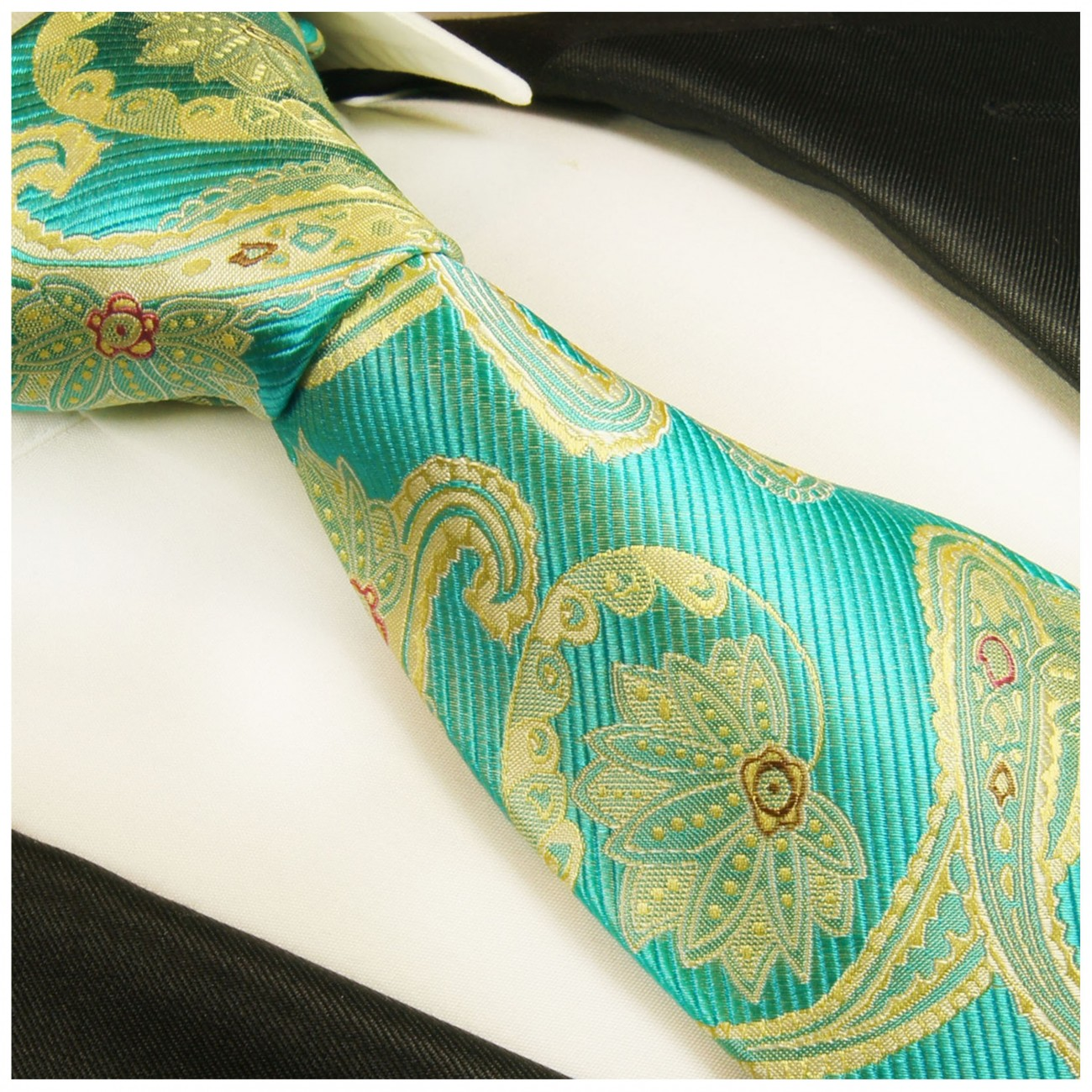 Turquoise yellow tie paisley necktie - silk mens tie and pocket square and cufflinks