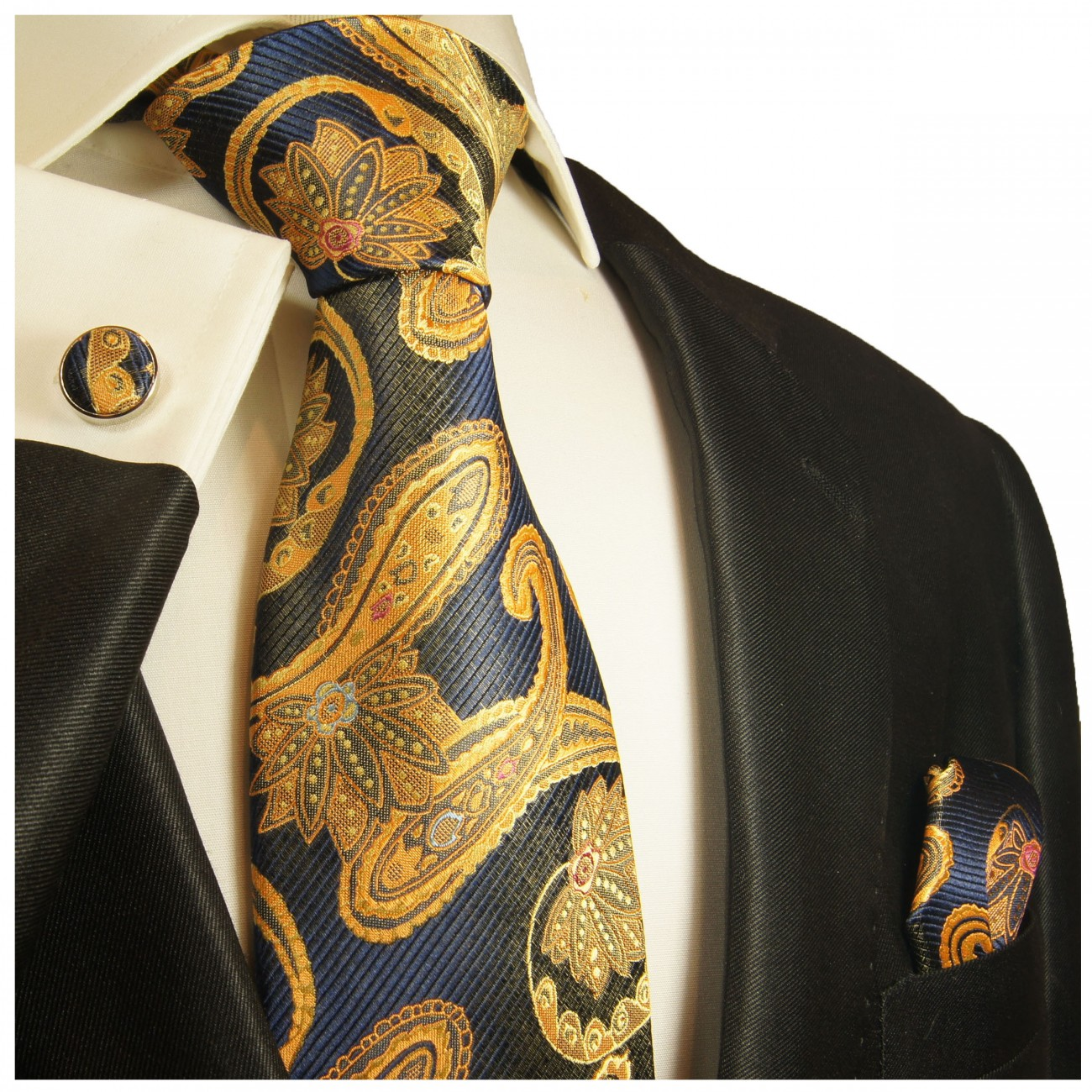 Blue gold tie paisley necktie - silk mens tie and pocket square and cufflinks