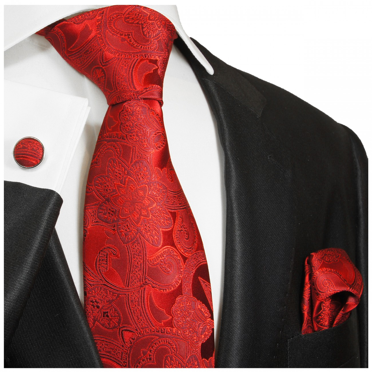 Red tie paisley necktie - silk mens tie and pocket square and cufflinks