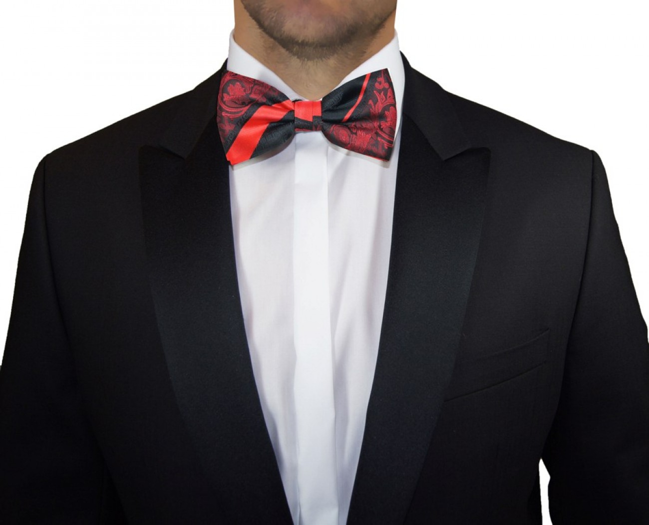 Red black striped mens bow tie