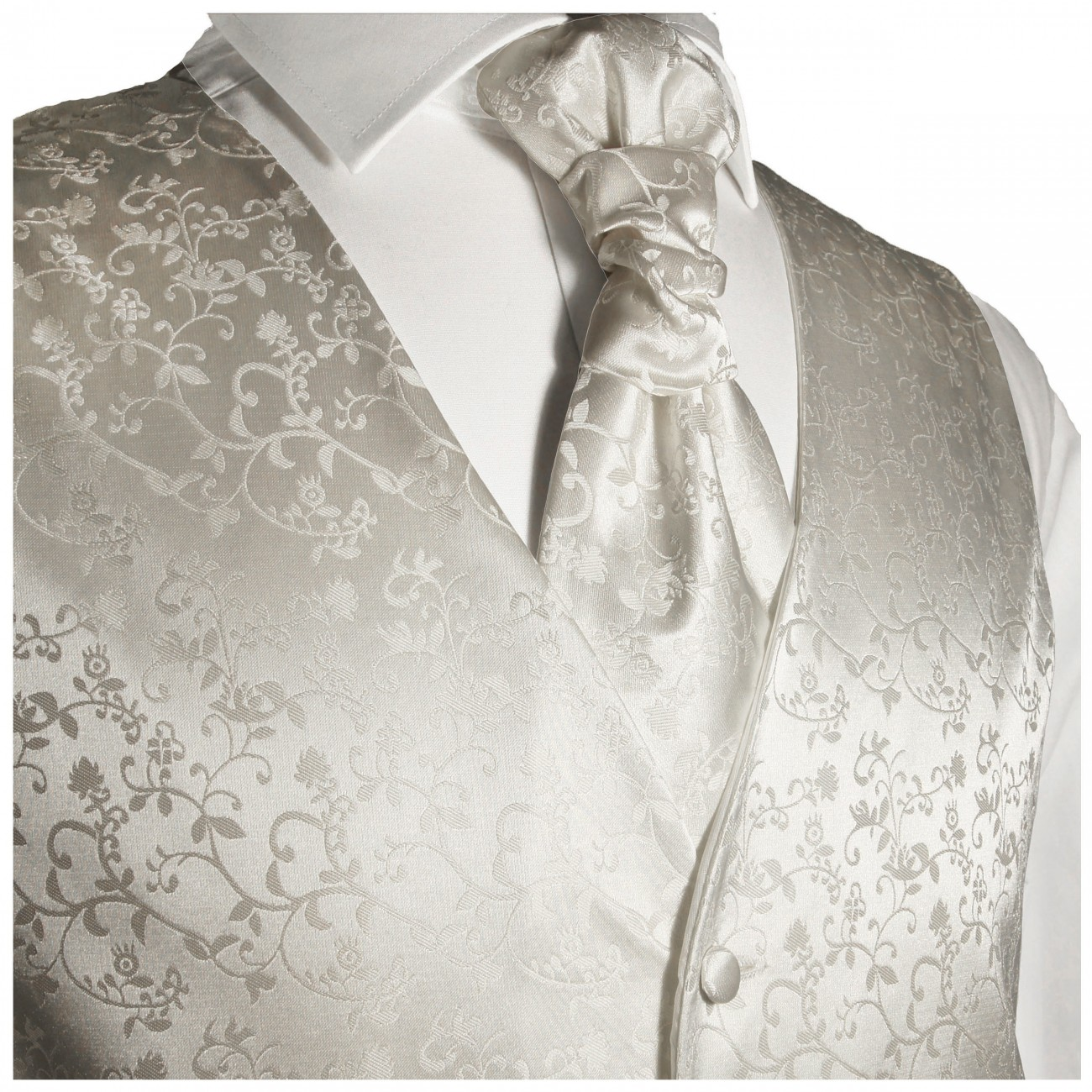 WEDDING VEST SET ivory and Shirt Slim Fit creme V41HL82