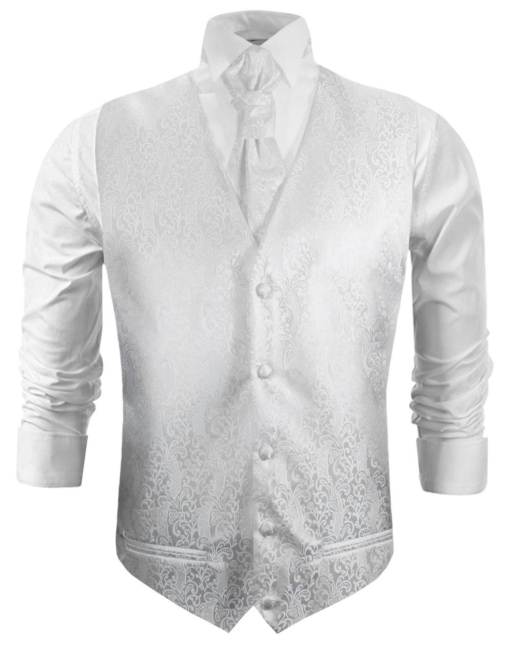 White barock wedding vest paisley waistcoat with cravat