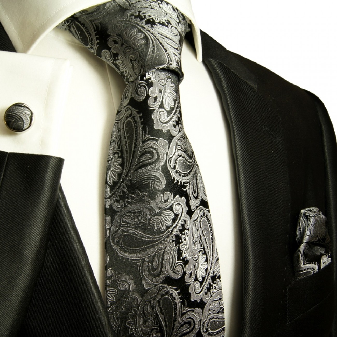 Silver gray mens tie paisley necktie - silk tie and pocket square and cufflinks