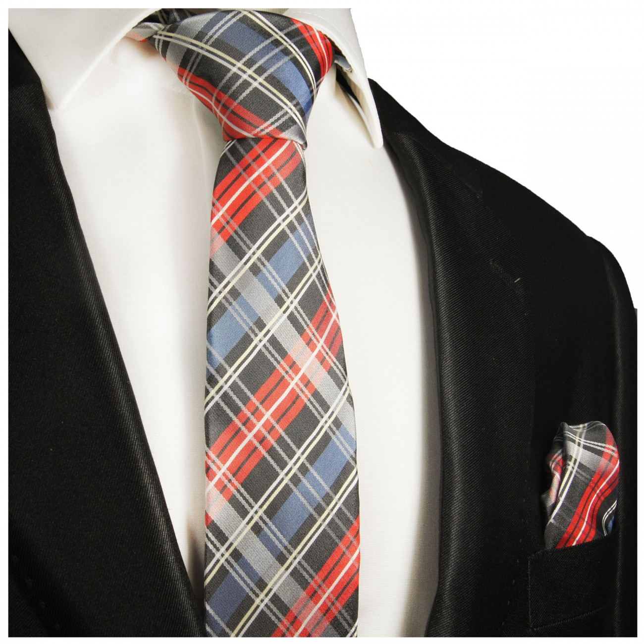 red blue plaid mens tie - checkered necktie