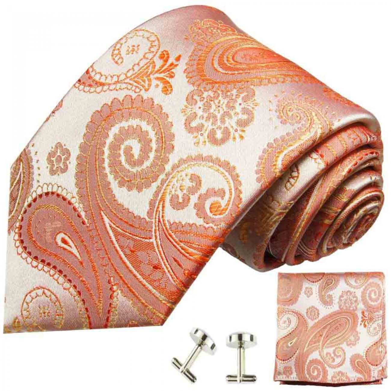 Coral tie paisley necktie - silk mens tie and pocket square and cufflinks