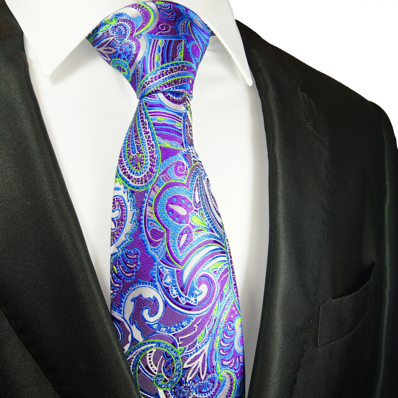 blue purple silk necktie
