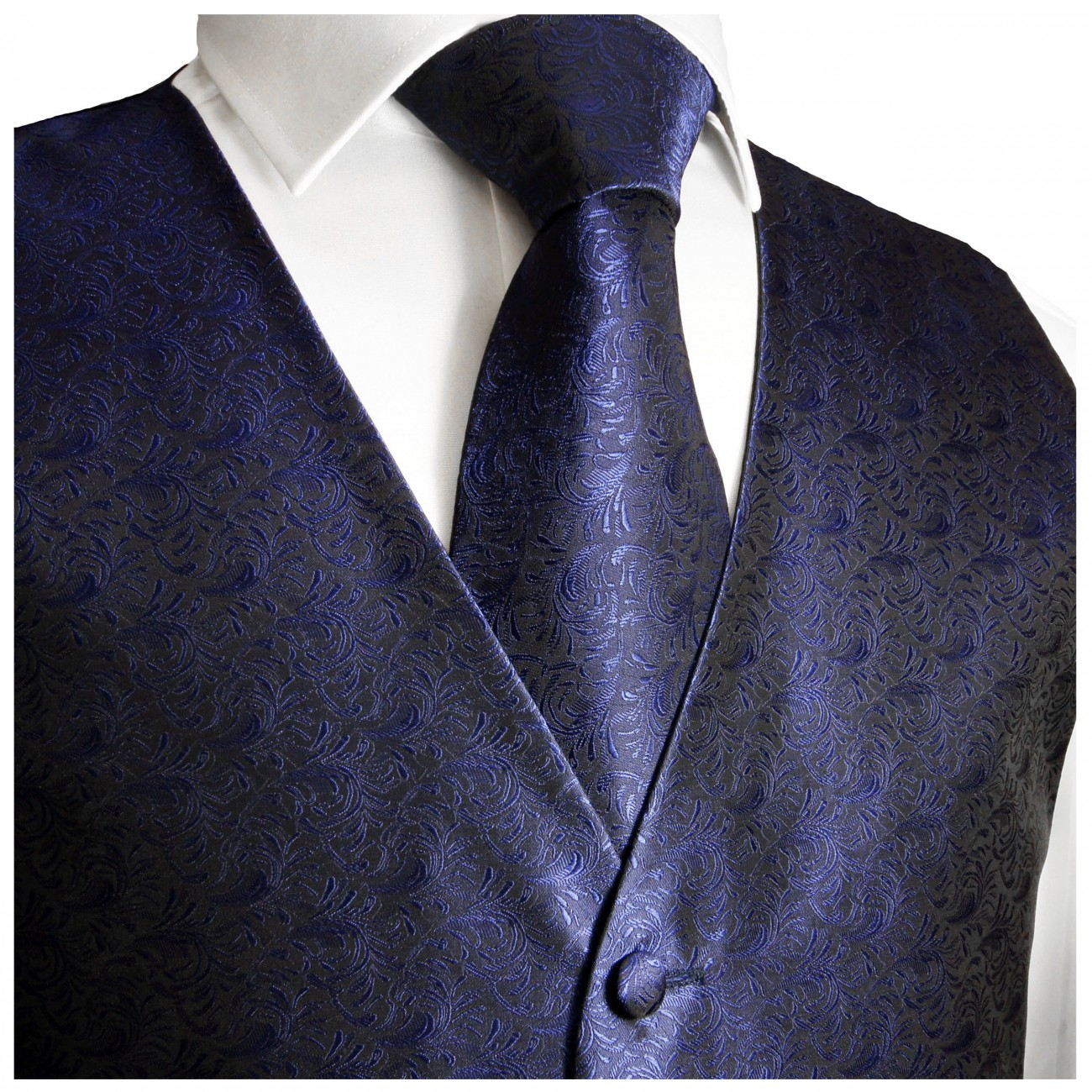Blue waistcoat for wedding with necktie ascot tie pocket square and cufflinks v6