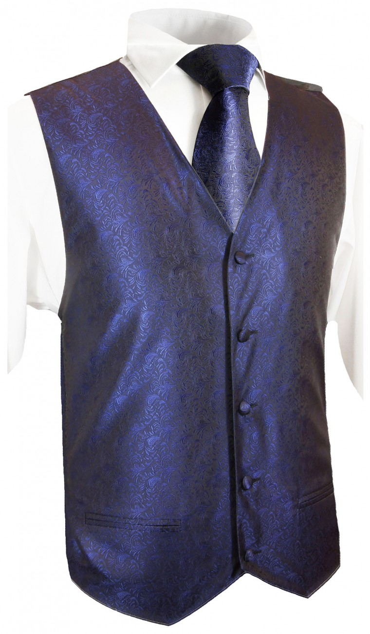 Blue wedding tuxedo vest with ascot tie v8