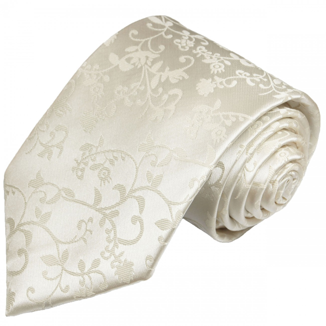 Wedding necktie 100% silk mens tie ivory floral 930