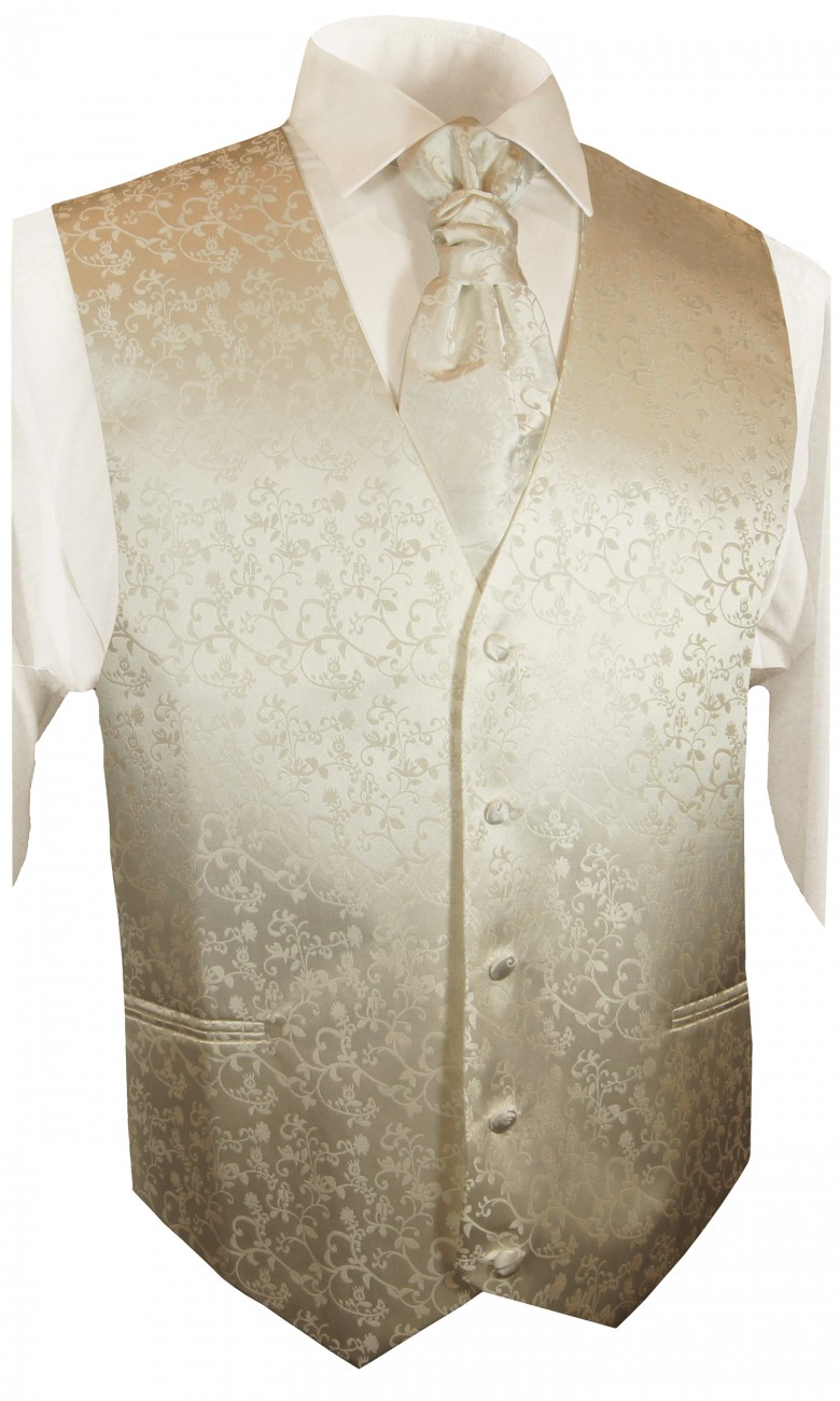 Champagne wedding tuxedo vest with ascot tie v18