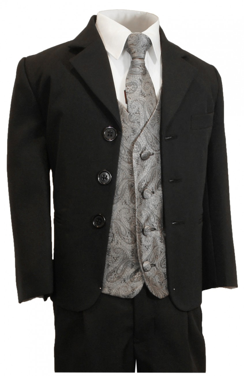Boys tuxedo suit black + gray vest set KA20+KV30