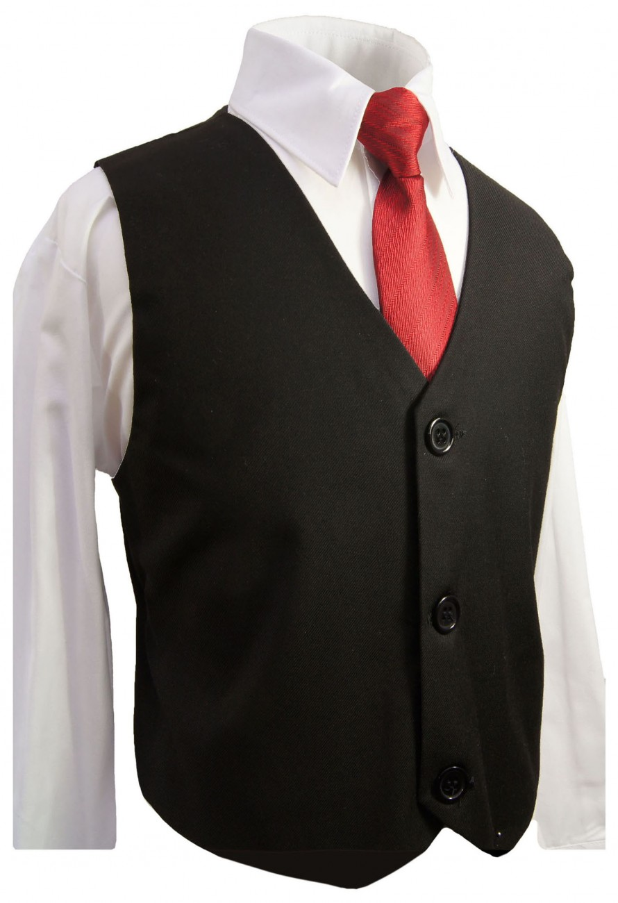 Boys vest waistcoat black with red tie