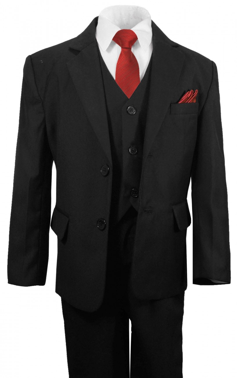 Boys suit with red necktie | Festive kids tuxedo for prom communion confirmation wedding baptism
