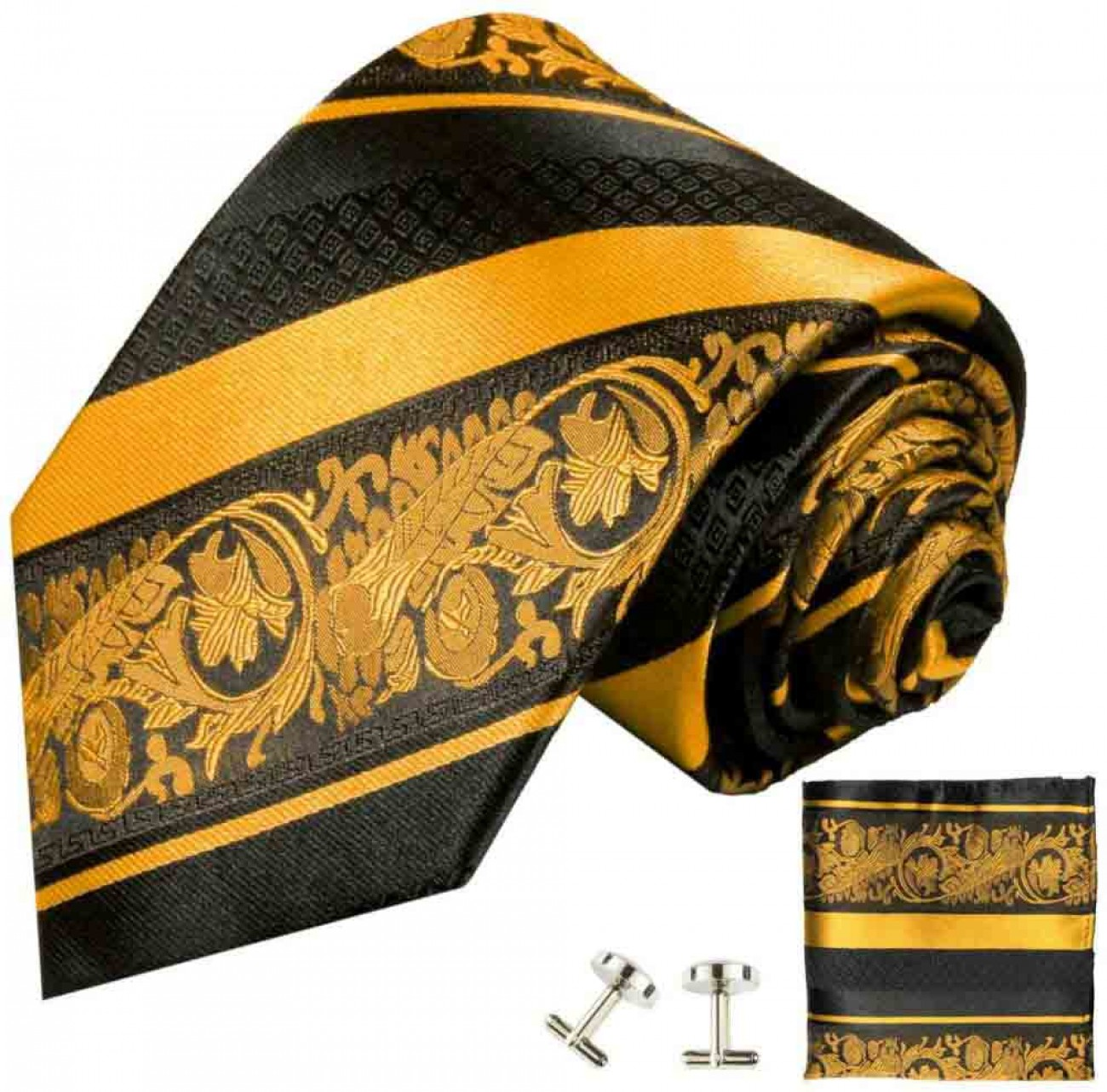 Yellow tie baroque striped necktie - silk mens tie and pocket square and cufflinks