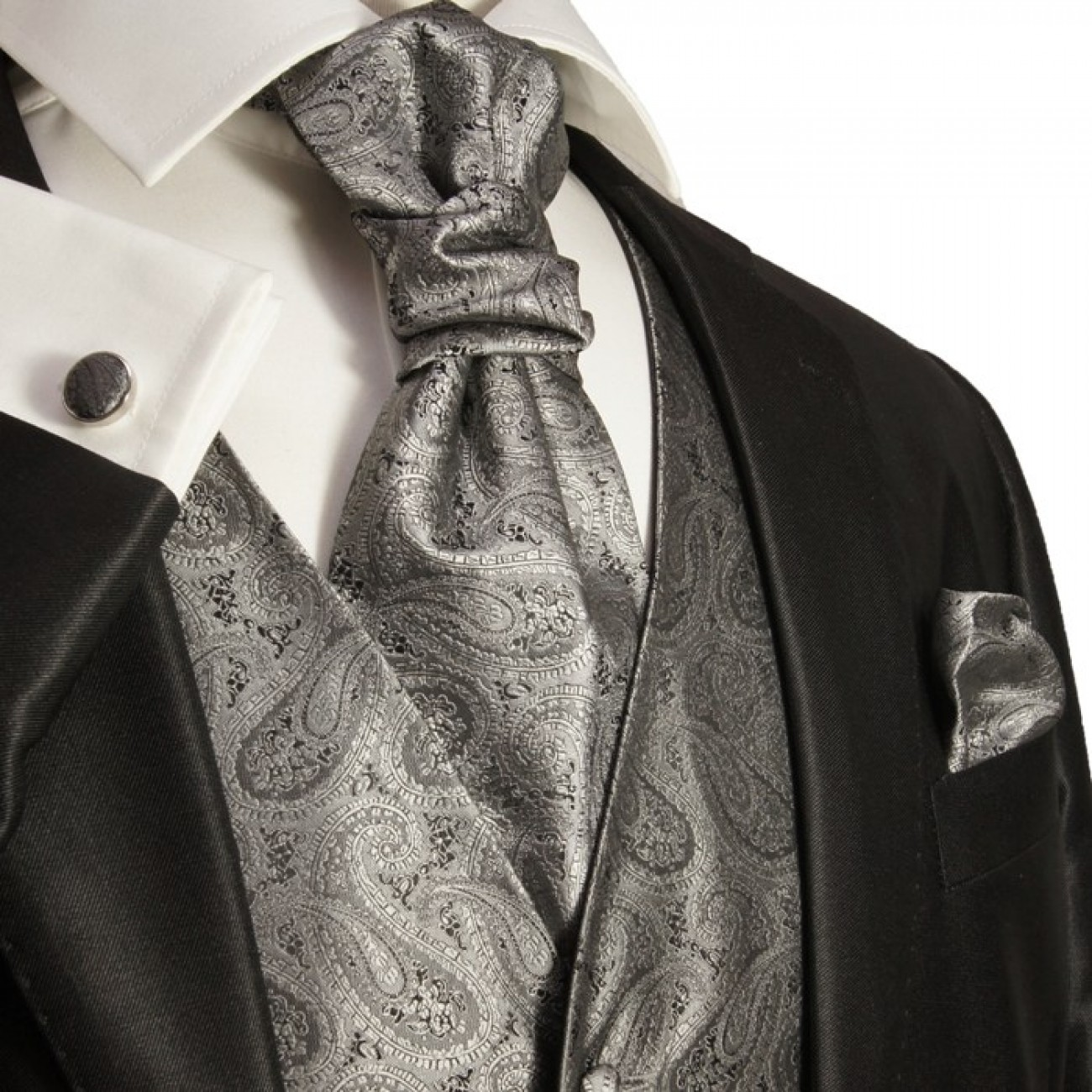 Silver gray wedding mens vest paisley pattern v30