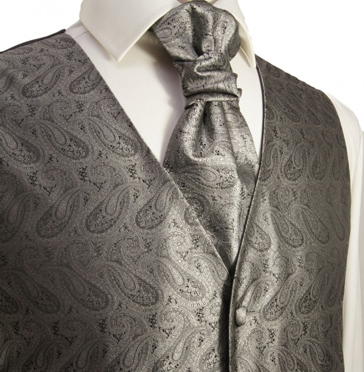 Silver gray waistcoat paisley for wedding with necktie ascot tie pocket square and cufflinks v30