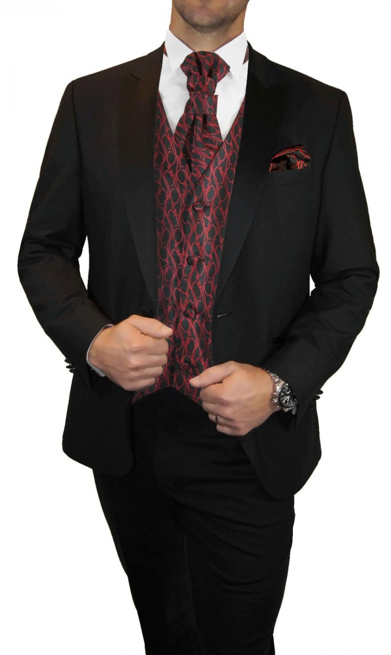Groom wedding suit tuxedo black with red black waistcoat wedding vest