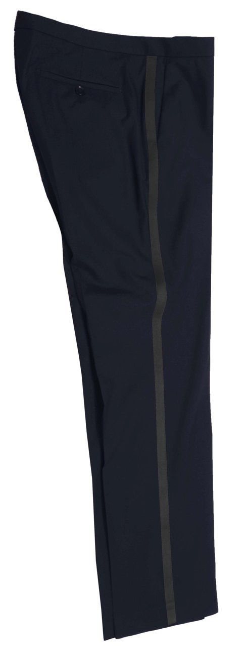 Blue wedding man pants trousers with black stripe