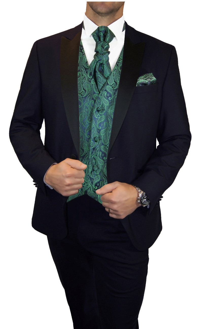 Groom wedding suit tuxedo blue with green blue floral waistcoat wedding vest