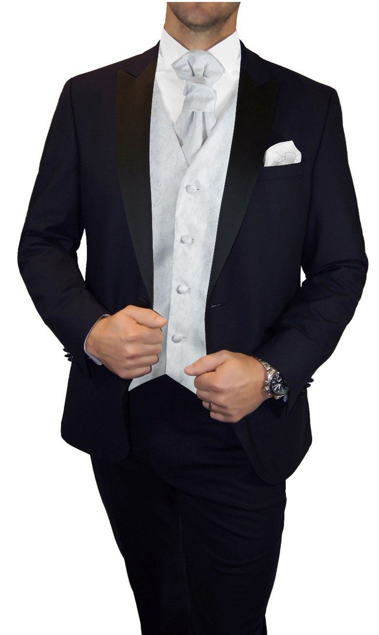 Groom wedding suit tuxedo blue with silver white floral waistcoat wedding vest