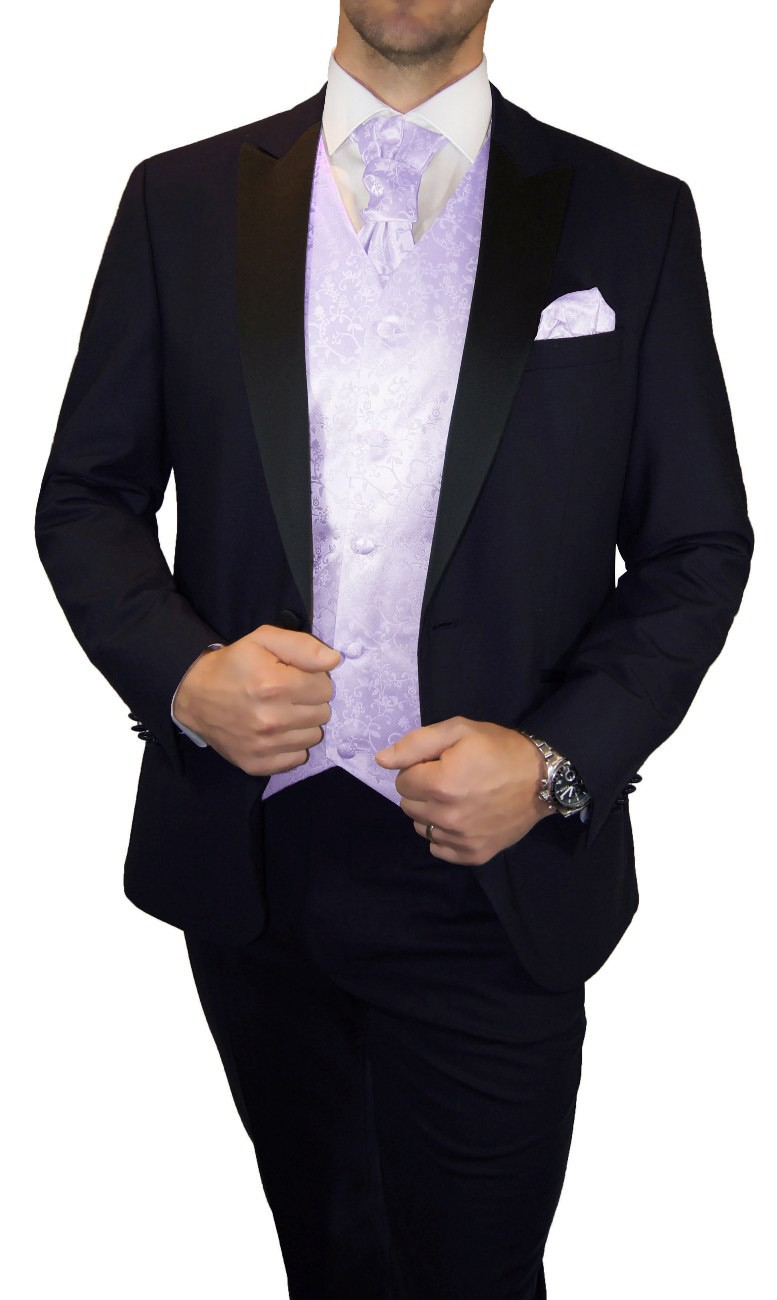 Groom wedding suit tuxedo blue with purple floral waistcoat wedding vest