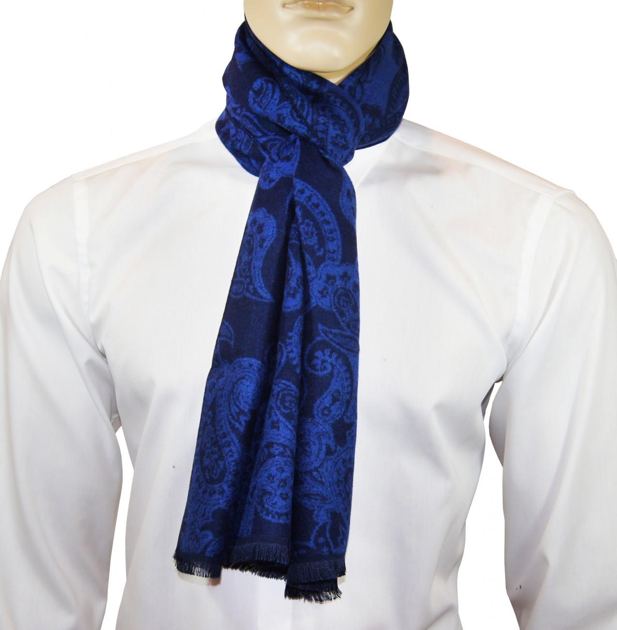 Herren schal schwarz blau paisley warm hs48 paul malone shop - Herren schal binden ...