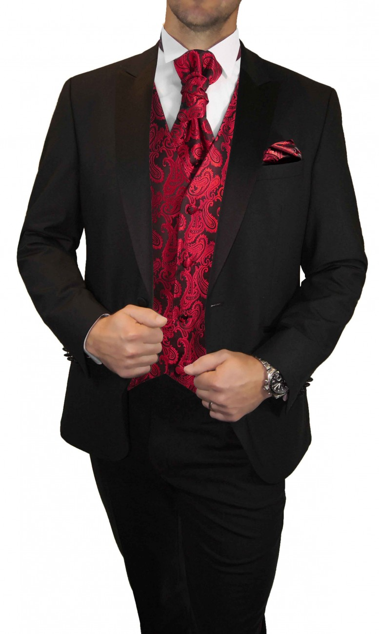 Wedding waistcoat men red paisley with matching tuxedo v99